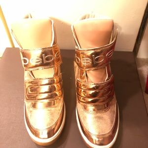 Bebe Rose Gold sneaker wedge